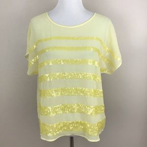 Forever 21 Sequined Stripe Top (Yellow)